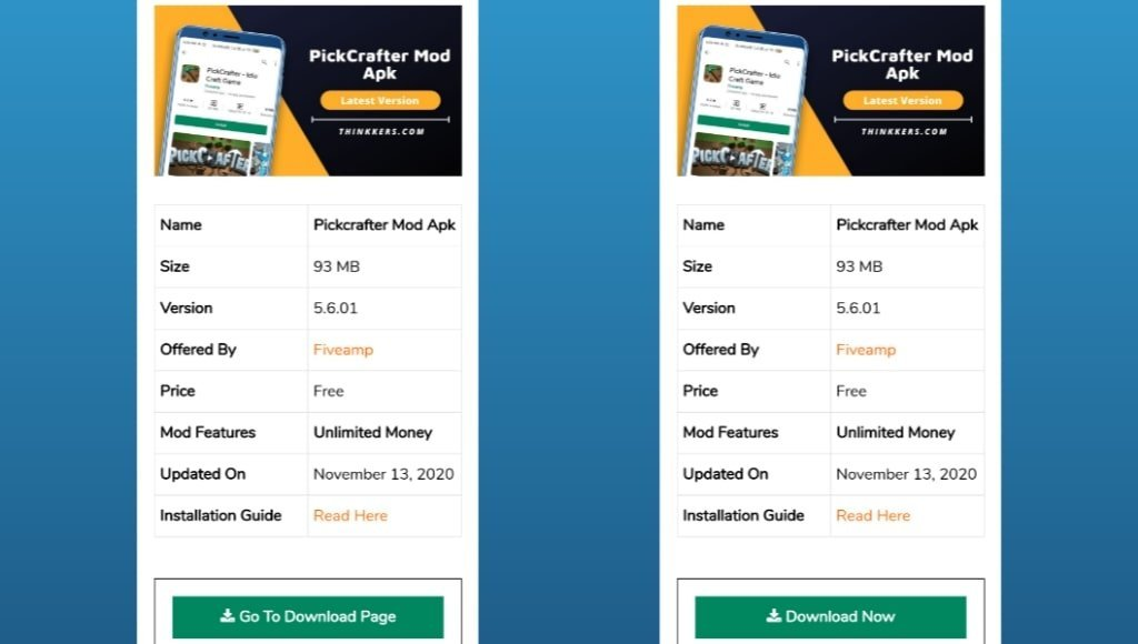 Pickcrafter Mod Apk Download