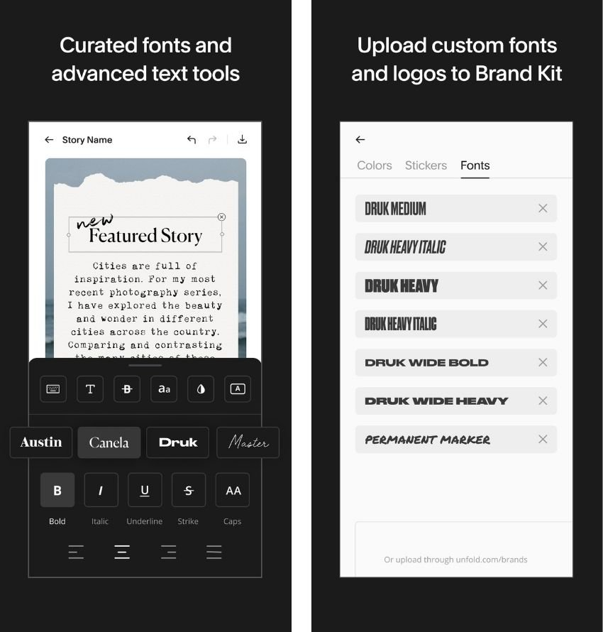 Unfold advanced text tool